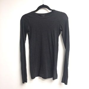 THEORY Charcoal Gray Long Sleeve Crew Neck Tee